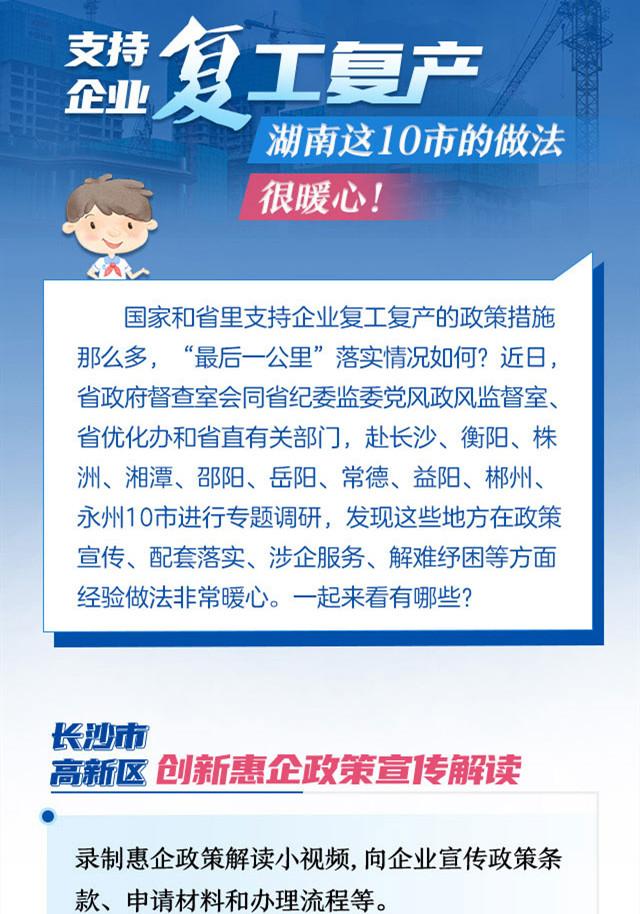 支持企业复工复产,湖南这10市的做法很暖心!