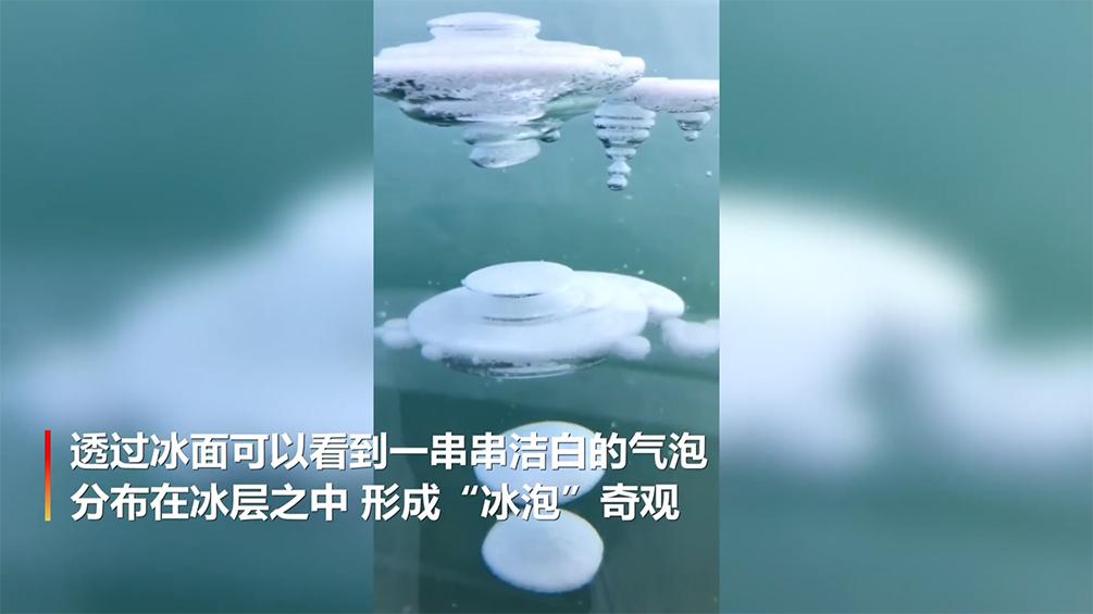 神奇!漠河冰封湖面下现冰泡奇观