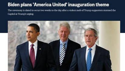 """拜登就职典礼主题出炉,三位前总统将""""团聚"""""""