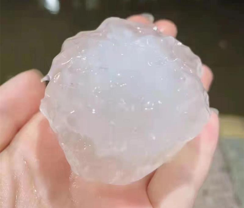 浏阳、宁乡等地出现冰雹,最大直径4公分左右