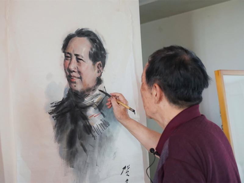 耄耋之年再绘伟人像,知名画家贺安成一辈子的主席情缘