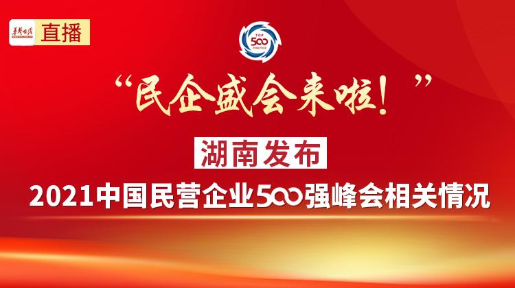 """直播回顾>""""民企盛会来啦!""""湖南发布2021中国民营企业500强峰会相关情况"""