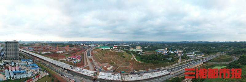长沙雨花大道与绕城高速的红旗路高架桥实现主线完工